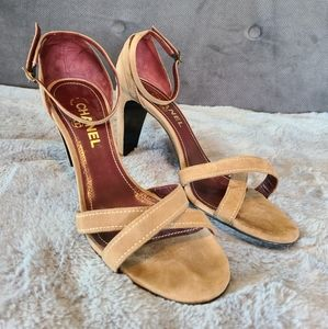 Chanel Tan Suede Strappy Heels size 40 / US 9.5